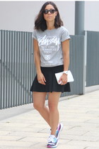 Zara skirt - Stussy t-shirt - Adidas sneakers