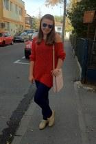 ruby red vintage blouse - cream Aldo shoes - light pink Louis Vuitton bag