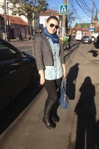 dark gray H&M blazer - black leather boots casa pielii boots - black Zara jeans