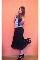 Atmosphere top - new look sandals - random skirt - New Yorker vest