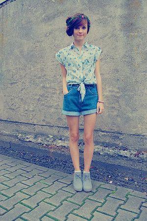 silver Primark shoes - blue Zara blouse - blue vintage jeans - white American Ap