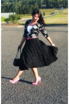 black Whitchery skirt - printed Prabal Gurung cardigan - pink verai heels