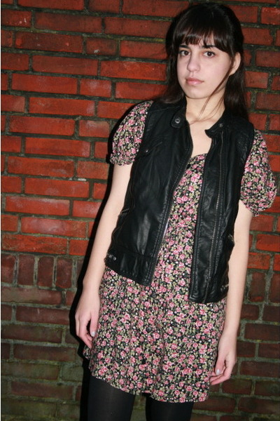 black Zara vest - pink vintage dress