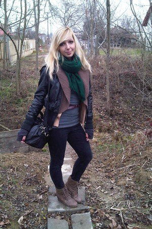 black denim jeans - black clockhouse jacket - brown new look vest