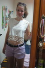 White-shirt-violet-macys-shorts-red-claires-sunglasses