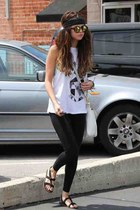 black leggings - white bag - sunglasses - white t-shirt