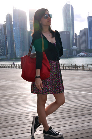 Forever 21 dress - Converse shoes - longchamp bag - Nichii cardigan