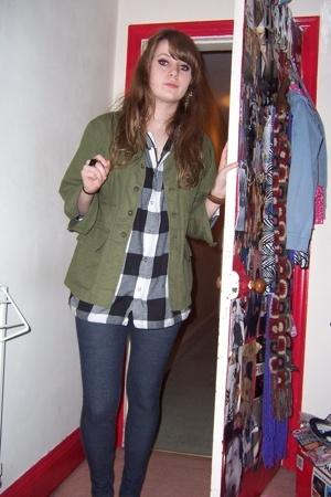 Topman shirt - vintage jacket - Topshop leggings - Topshop earrings