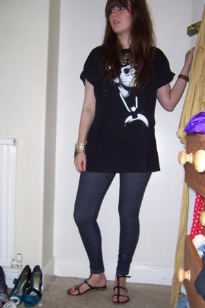 t-shirt - Topshop necklace - Topshop leggings - Topshop shoes - bracelet - Miss