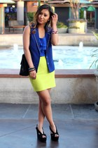 light yellow Forever 21 skirt - blue Wasteland cardigan