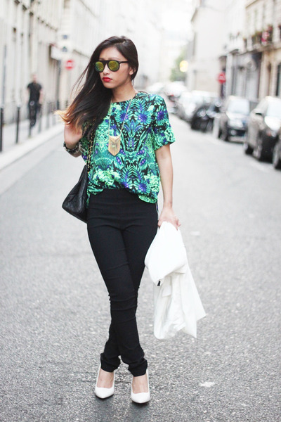 green chicnova blouse - black H&M pants - white Mango heels
