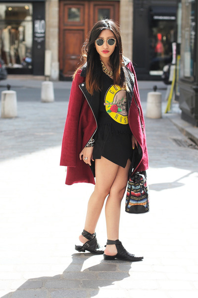 Sheinside coat - Choies boots - Zara skirt