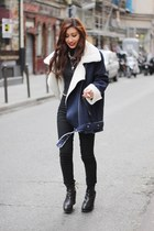 navy Yesstyle coat - black H&M pants