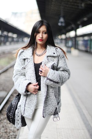 heather gray biker coat Yesstyle coat - ivory Yesstyle pants