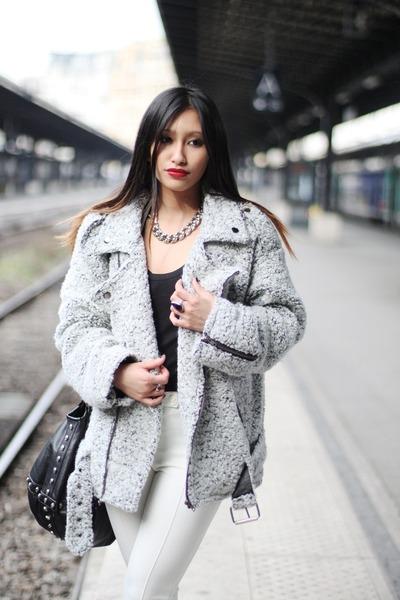heather gray biker coat Yesstyle coat - ivory Yesstyle pants