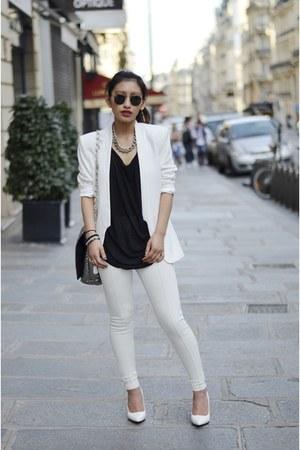 white H&M blazer - white Mango heels - white Yesstyle pants
