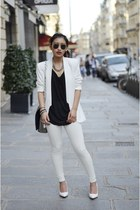 white H&M blazer - white Mango heels - white Yesstyle pants