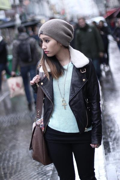 brown beanie ROOTS hat - black asos jacket - aquamarine H&M jumper