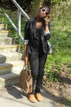 black jeans - black H&M blazer - bronze Mango bag - mustard new look flats