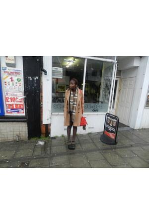 camel wool H&M coat - black silk H&M shirt - tartan vintage scarf
