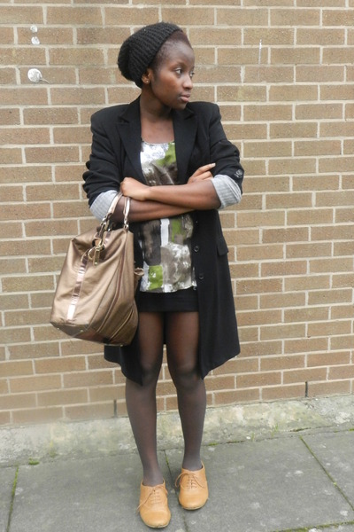 black vintage blazer - bronze Mango bag - mustard new look flats