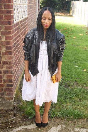 Vintage leather jacket - Topshop diy dress - jasper conran pumps