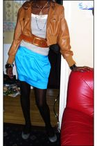 brown conway jacket - black Primark tights - gray shoes - gold belt - blue Fusio