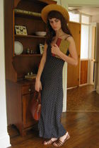 blue dress - brown purse - brown shoes