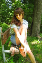 gold vintage sunglasses - green Thrifted Gap t-shirt - blue DIY cutoffs shorts -