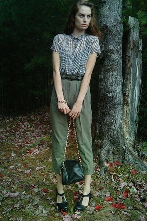 black Thrifted Calvin Klein Blouse blouse - black Forever 21 belt - thrifted hig
