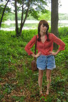 red Gap blouse - blue DIY shorts - brown thrift shoes - brown Levis purse