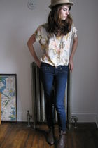 pink thrift blouse - beige Target hat - blue ae jeans - brown thrift shoes