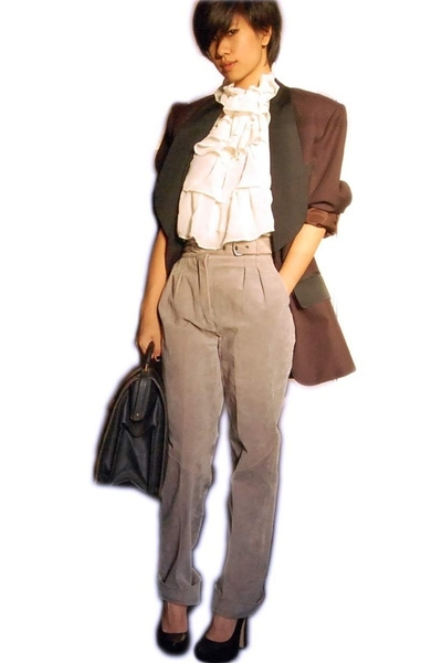 vintage blazer - vintage top - vintage pants - Bebe shoes