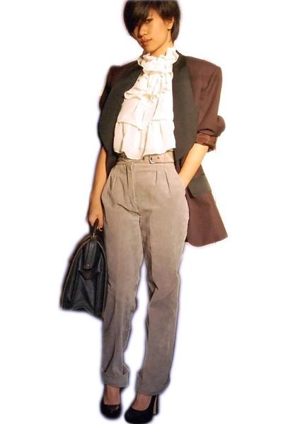 vintage blazer - vintage top - vintage pants - Bebe shoes