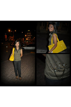 green random from japan blouse - black pants - yellow purse