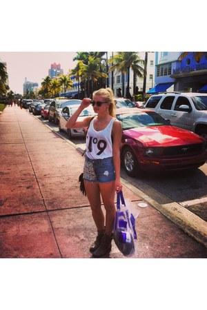 LF shoes - blonds Topshop shorts - rayban sunglasses - Wildfox top