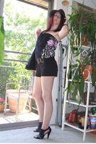 black derek heart suit - black Forever 21 purse - black Fioni shoes - black Wet