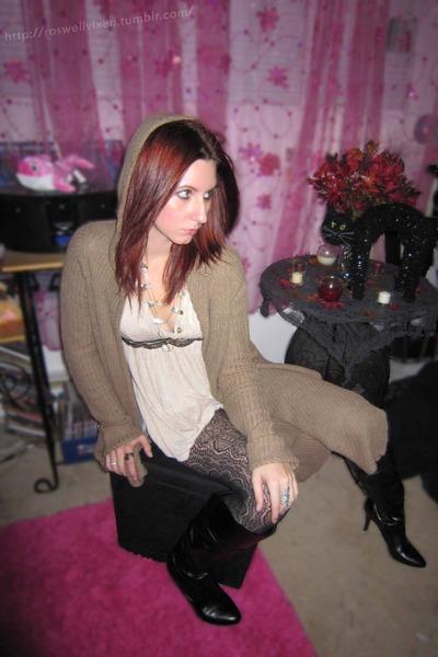 brown Discovery cardigan - beige Agaci top - black merona tights - beige unknown