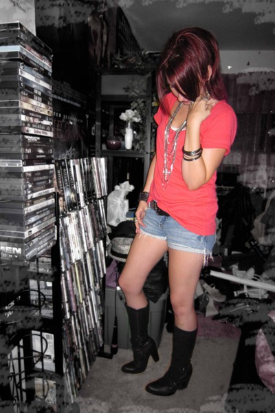 orange Forever 21 shirt - blue Forever 21 shorts - black Danita K boots - silver