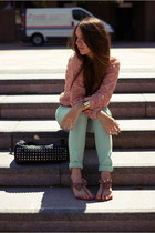 salmon Ebay blouse - light blue River Island jeans - black Mizensa bag
