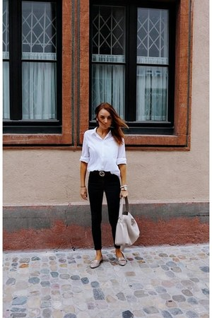 beige Furla bag - white H&M blouse - black Only pants - brown Gucci belt