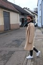 Tan-pimkie-coat-black-h-m-pants-tan-only-blouse-white-puma-sneakers