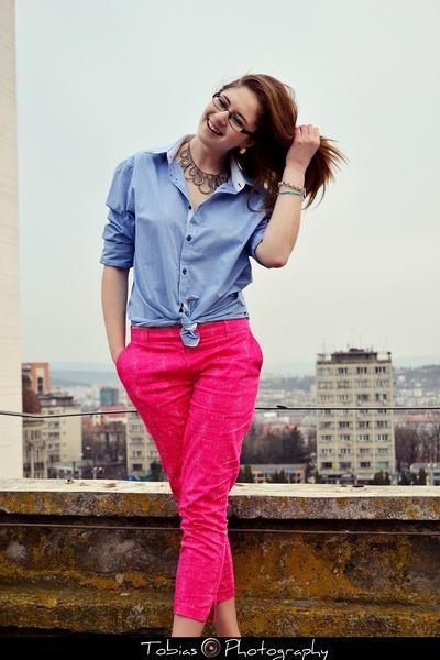 blue shirt shirt - hot pink H&M pants
