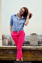 blue shirt shirt - hot pink H&M pants