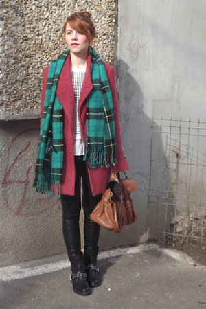 coral Bershka coat - black Bershka boots - teal H&M scarf