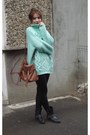 Black-bershka-boots-turquoise-blue-cotton-new-yorker-sweater
