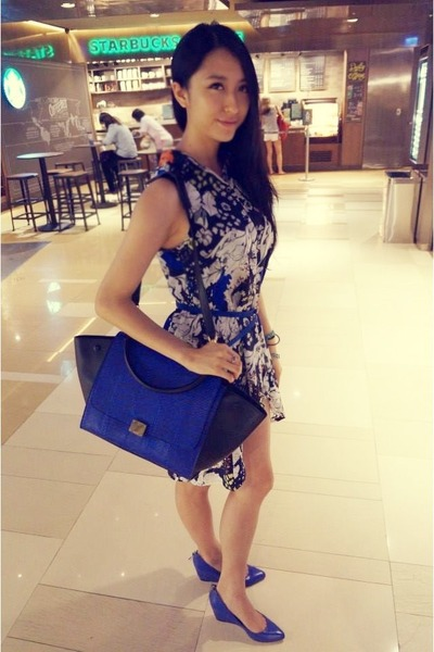 blue asos dress - blue Celine bag - blue as wedges