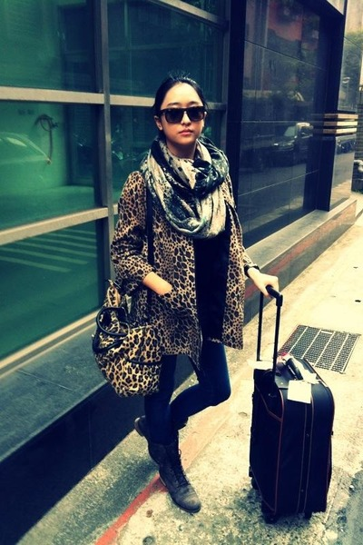 dark brown Esprit boots - brown leopard pattern H&M coat
