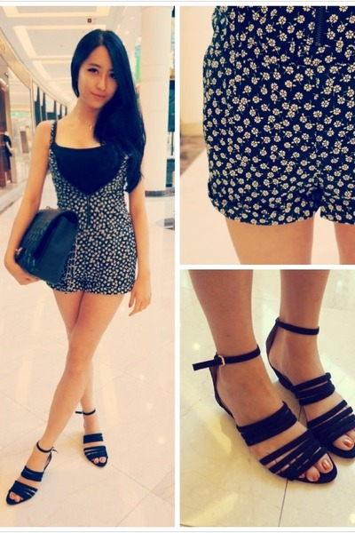black H&M romper - black Zara sandals