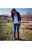 H&M boots - pull&bear jeans - black new look blazer - new look blouse